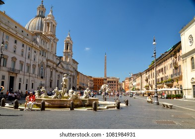 ROME, ITALY. June 21, 2014: Piazza Navona in Rome, Italy. Piazza Navona is a popular destination in Rome.