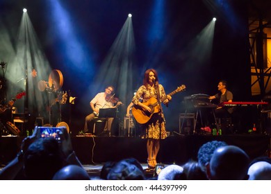 Rome, Italy - June 21, 2016: Carmen Consoli sings in Piazza Farnese, on the stage of a public concert organized by the French Embassy in Rome, at the European music festival.