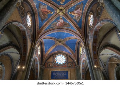 Rome, Italy - June 21, 2018: Panoramic view of interior of Santa Maria sopra Minerva (Saint Mary above Minerva) is one of churches of Roman Catholic Order of Preachers (known as Dominicans) in Rome