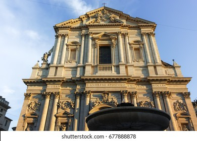 ROME, ITALY - JUNE 22, 2017: Sunset view of Chiesa Sant Andrea della Valle in Rome, Italy