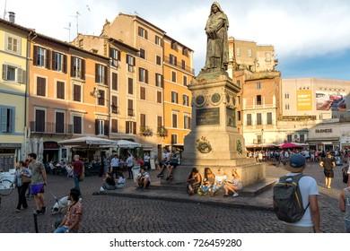 ROME, ITALY - JUNE 22, 2017: Amazing Sunset view Campo de Fiori in city of Rome, Italy