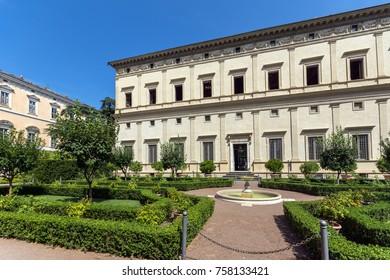 ROME, ITALY - JUNE 23, 2017: Building of Villa Farnesina in Trastavete district in city of Rome, Italy
