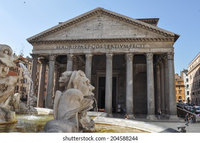 ROME, ITALY - JUNE 24, 2014: Tourists visiting the Pantheon temple to all Gods Rome Italy