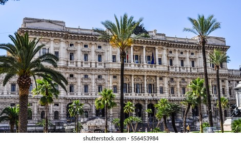 ROME, ITALY - JUNE 24, 2014: High dynamic range (HDR) Procura Generale building hosting the Supreme Court of Italy