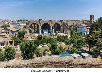 ROME, ITALY - JUNE 24, 2017: Panoramic view From Palatine Hill in city of Rome, Italy