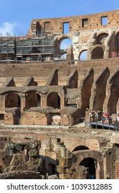 ROME, ITALY - JUNE 24, 2017: Tourists visiting inside part of  Colosseum in city of Rome, Italy