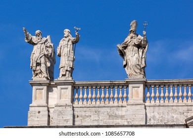 ROME, ITALY - JUNE 25, 2017: Architectural detail of Basilica of San Giovanni in Laterano (Basilica di San Giovanni in Laterano) in city of Rome, Italy
