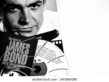 Rome, Italy - June, 25 2019, cover of the soundtrack of James Bond 007 and of the biography of the publisher Taschen on the actor Sean Connery.