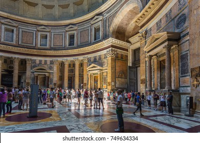 ROME, ITALY - June 26, 2013: Interiors and details of Pantheon, the ancient temple of all the gods.The best preserved ancient object in Rome.