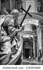 Rome Italy June 27 2015 : Sculpture with a crucifix inside St Peter's Basilica in Rome