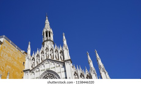 Rome, Italy - June 27, 2018: Facade of the Church of the Sacred Heart of Jesus in Prati, in Rome in the Neogothic style