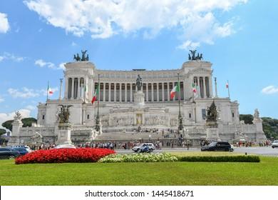 Rome, Italy – June 2nd 2019: Il Vittoriano in Piazza Venezia. National Monument the Vittoriano or Altare della Patria, Altar of the Fatherland, in Venezia square.