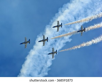 ROME, ITALY - JUNE 3 2012: The aerial acrobatics of the Breitling Jet Team in the event of the International Air Show.