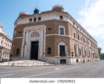 ROME, ITALY - JUNE 3, 2019: Entrance to ANMIG (Associazione Nazionale fra Mutilati e Invalidi di Guerra), Rome, Italy.