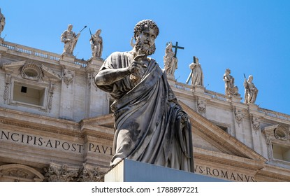 ROME, ITALY - JUNE 3, 2019: Statue of St. Peter in Vatican City, papal enclave of Rome, Italy.