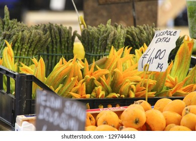 ROME, ITALY - JUNE 3 : Courgette flowers for sale at one of the increasingly popular traditional food markets on 3 June 2011 in Rome. The vegetables originate from small scale producers around Rome.