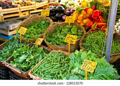 ROME, ITALY - JUNE 3 : Produce for sale at one of the increasingly popular traditional food markets on 3 June 2011 in Rome. The vegetables originate from small scale producers around Rome.