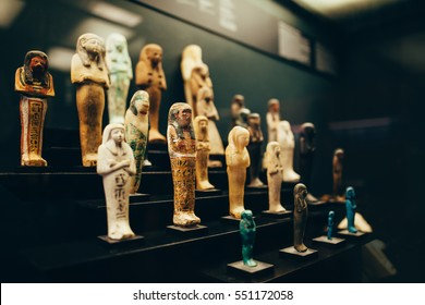 ROME, ITALY - JUNE 4, 2016: ancient Egyptian pharaoh statues in the Vatican Museum