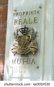 Rome, Italy - June 6, 2017: Reale Mutua insurance plate. Reale Mutua Assicurazioni is a mutual insurance company in Italy