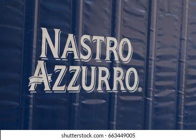 Rome, Italy - June 6, 2017: Nastro Azzurro beer brand name. Peroni Nastro Azzurro Brewery is a brewing company