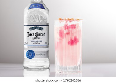 ROME, ITALY - JUNE 6, 2020: Jose Cuervo Especial Silver tequila bottle and Paloma cocktail. The Especial Silver tequila is made of blue agave and is particularly suitable for long drinks.