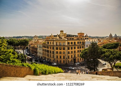 Rome, Italy - June 7 2018: View from Ara Coeli staircase