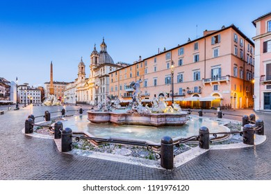 Rome, Italy. La Fontana del Moro (the Moor Fountain)at the southern end of the Piazza Navona.