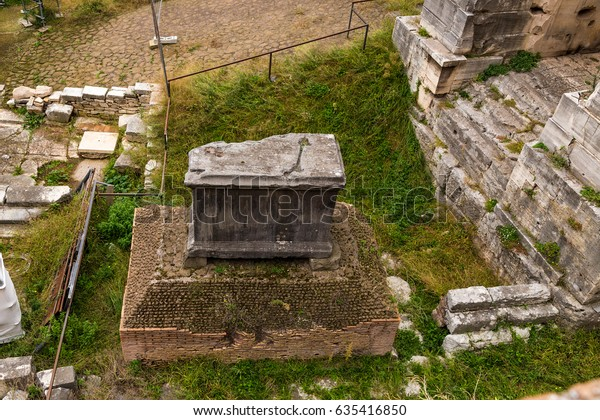 Rome, Italy. Lapis Niger - the alleged grave of Romulus  at the Roman Forum, VIII - I centuries BC