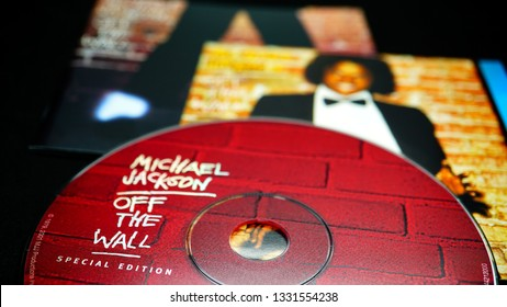 Rome, Italy - March 04, 2019: CD covers of Michael Jackson's first solo album, OFF THE WALL. original version and special edition of 2001