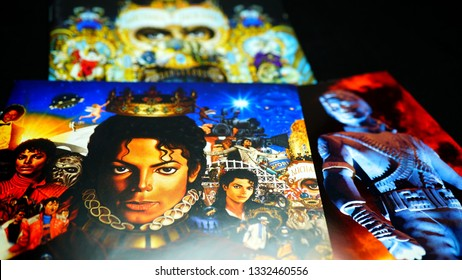 "Rome, Italy - March 04, 2019: Collection of CD covers of three solo albums by MICHAEL JACKSON. an American singer, songwriter and dancer. Dubbed the ""King of Pop"""