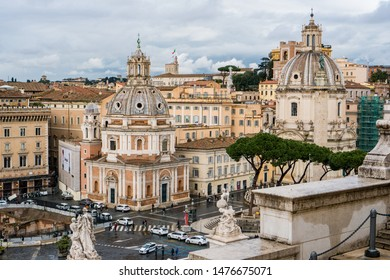 Rome, Italy - March 06, 2018: View of Trajan forum with church Santa Maria di Loreto and church of the Most Holy Name of Mary