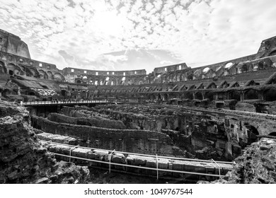 ROME, ITALY, MARCH 07, 2018: Black and white picture inside of Coliseum, important tradmark of Rome, Italy