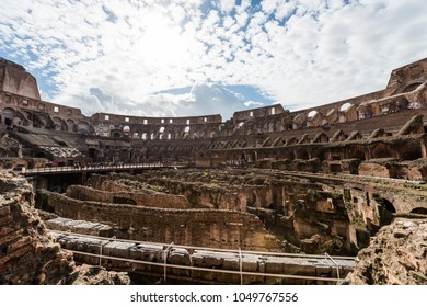 ROME, ITALY, MARCH 07, 2018: Wide angle picture inside of Coliseum, important tradmark of Rome, during a cloudy day.