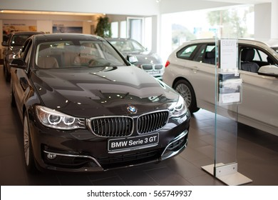ROME, ITALY - MARCH 10, 2014: The BMW 3 Series Gran Turismo in the showroom of car dealer. Based on the V3 automobile platform is the first generation of BMW's Progressive Activity Coupe series.