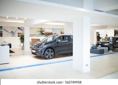 ROME, ITALY - MARCH 10, 2014: The new five-door urban electric car BMW I3 inside dealer showroom. The i3 is BMW's first zero emissions mass-produced vehicle due to its electric powertrain.