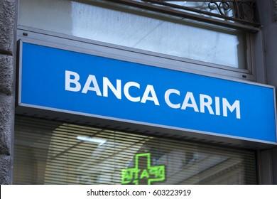 Rome, Italy - March 10, 2017: Carim bank branch signage. Banca Carim – Cassa di Risparmio di Rimini SpA is an Italian saving bank based in Rimini, Emilia Romagna, only active in the area around Rimini