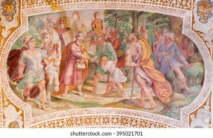 ROME, ITALY - MARCH 11, 2016: The Esau Sells His Birthright by Prospero Orsi (1560s-1630s). Fresco from the vault of stairs in church Chiesa di San Lorenzo in Palatio ad Sancta Sanctorum.