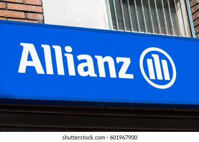 Rome, Italy - March 11, 2017: Financial and insurance group Allianz logo. Founded in 1890 in Berlin, Germany, Allianz SE is now headquartered in Munich and is the largest German insurance company