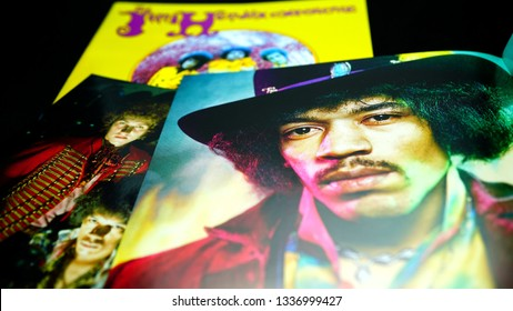 Rome, Italy - March 11, 2019: covers and cd inserts of the American rock guitarist Jimi Hendrix. he is widely regarded as one of the most influential electric guitarists in the history of pop music