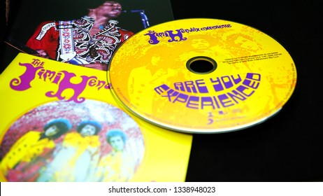 Rome, Italy - March 11, 2019: Collection of covers and cd inserts of the American rock guitarist Jimi Hendrix. Debut studio album by English-American rock band the Jimi Hendrix Experience. Released in