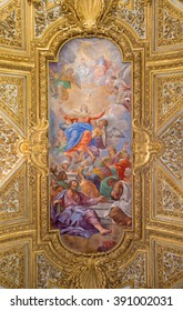 ROME, ITALY - MARCH 12, 2016: The Assumption of Virgin Mary fresco on the vault in Chiesa di Santa Maria del Orto by Giacinto Calandrucci (1707).