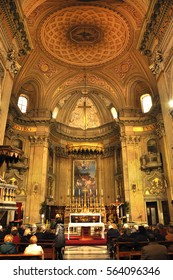 ROME, ITALY - MARCH 13, 2016: Sant'Eustachio is a Roman Catholic titular church and minor basilica in Rome, named for the martyr Saint Eustace and is visited daily by Catholic pilgrims