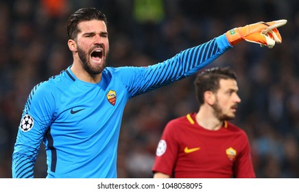 ROME, ITALY - MARCH 13,2018:  Alisson Ramses Becker goalkeeper of Roma during fotball match UEFA Champions League 2017/2018 between AS Roma vs Shakhtar Donetsk at the Olimpic Stadium in Rome.