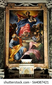 ROME, ITALY - MARCH 14, 2016: The paintings in the Cerasi Chapel in Basilica of Santa Maria del Popolo was painted by Caravaggio and Carracci