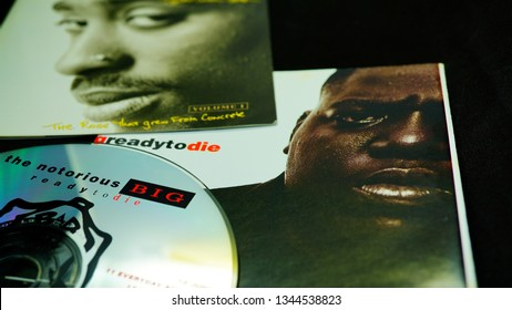 Rome, Italy - March 16, 2019:  Collection of covers and cd inserts of the singer Tupac Shakur and NOTORIUS BIG. Protagonists of the battle between the opposing factions of the hip hop of the 90s