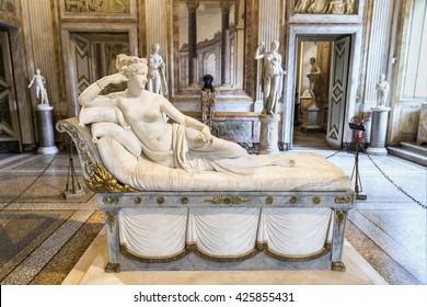 ROME, ITALY - MARCH 17, 2016: Magnificent sculpture of Pauline Bonaparte  masterpiece by famous sculptor Antonio Canova in Galleria Borghese.Europe.