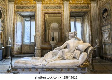 ROME, ITALY - MARCH 17, 2016: Amazing sculpture of Pauline Bonaparte, masterpiece by famous sculptor Antonio Canova in Galleria Borghese.Europe.