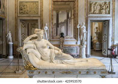 ROME, ITALY - MARCH 17, 2016:  Wonderful sculpture of Pauline Bonaparte, masterpiece by famous sculptor Antonio Canova in Galleria Borghese.Europe.