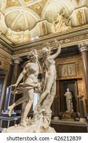 ROME, ITALY - MARCH 17, 2016: Romantic sculptural group of Apollo and Daphne, masterpiece by famous sculptor Gian Lorenzo Bernini at Galleria Borghese.Europe.