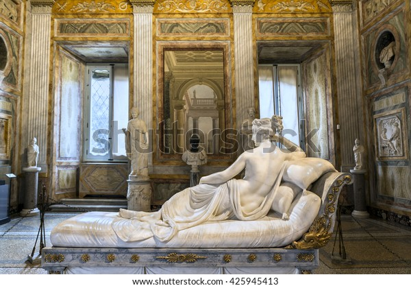ROME, ITALY - MARCH 17, 2016: Amazing sculpture of Pauline Bonaparte, masterpiece by famous sculptor Antonio Canova in Galleria Borghese.Europe.